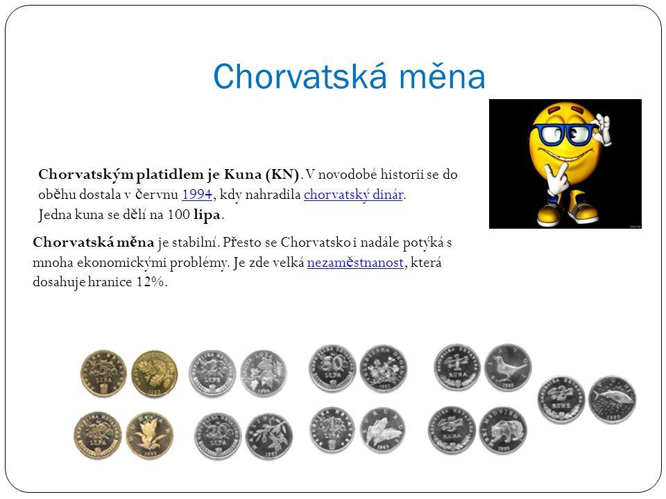 Chorvatská měna Chorvatským platidlem je Kuna (KN). V novodobé historii se do oběhu dostala v červnu 1994, kdy nahradila chorvatský dinár.