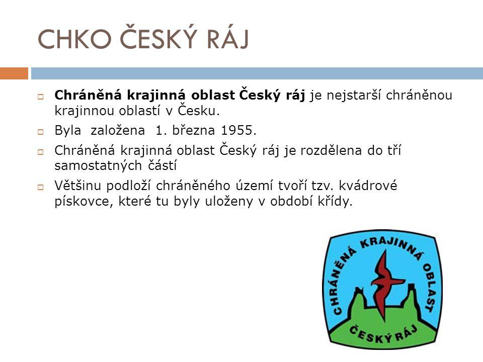 CHKO ČESKÝ RÁJ Chráněná krajinná oblast Český ráj je nejstarší chráněnou krajinnou oblastí v Česku.