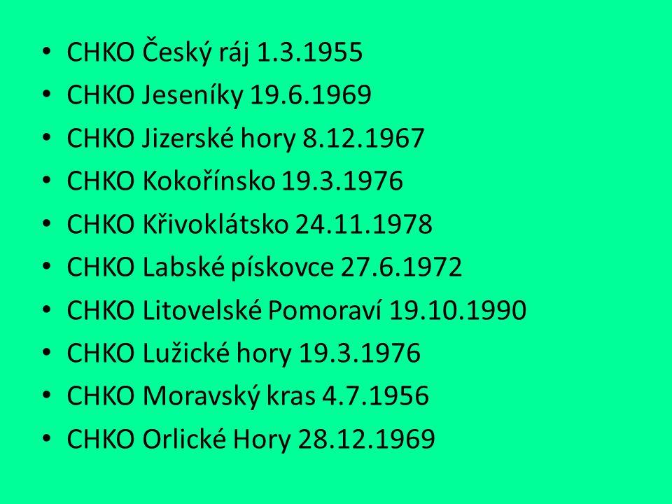 CHKO Český ráj 1.3.1955 CHKO Jeseníky 19.6.1969. CHKO Jizerské hory 8.12.1967. CHKO Kokořínsko 19.3.1976.