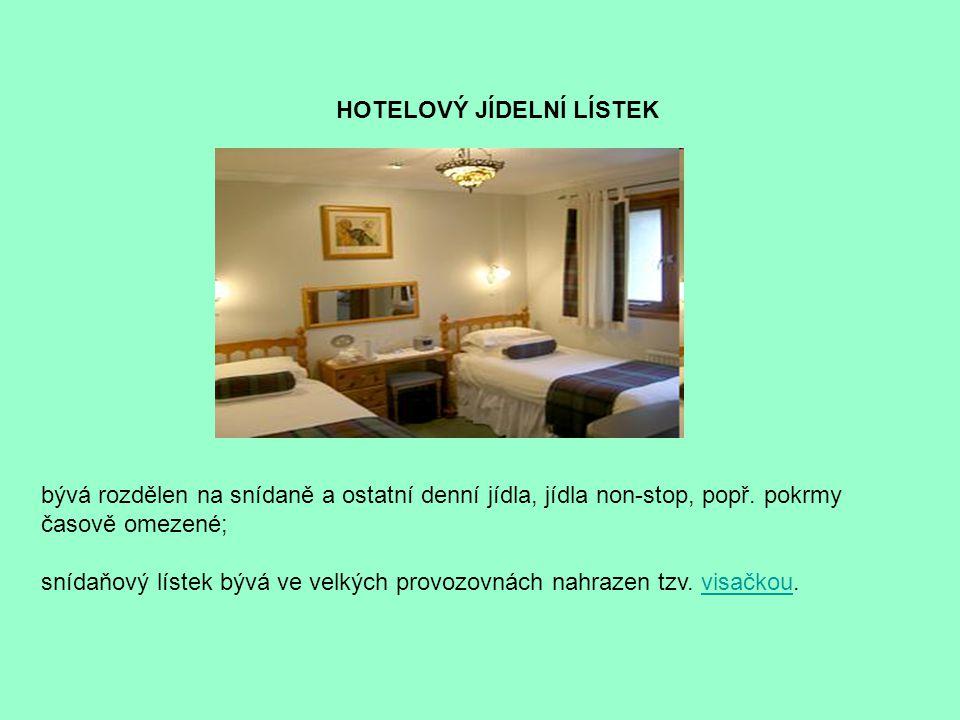HOTELOVÝ JÍDELNÍ LÍSTEK