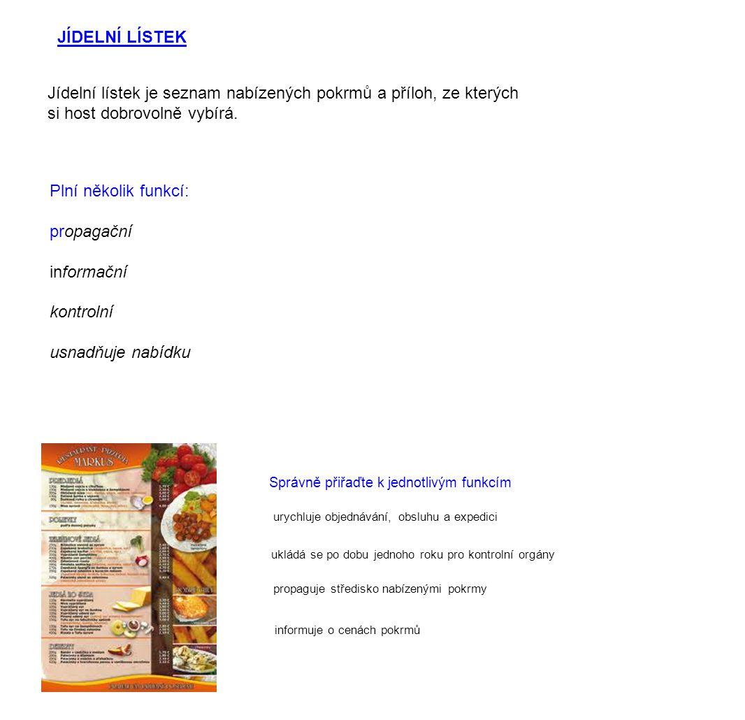 Jídelní lístek je seznam nabízených pokrmů a příloh, ze kterých