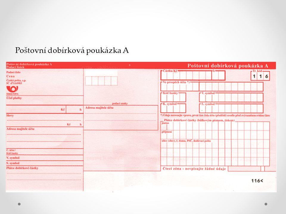 Poštovní dobírková poukázka A