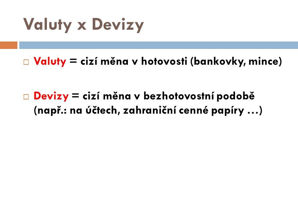Valuty x Devizy Valuty = cizí měna v hotovosti (bankovky, mince)