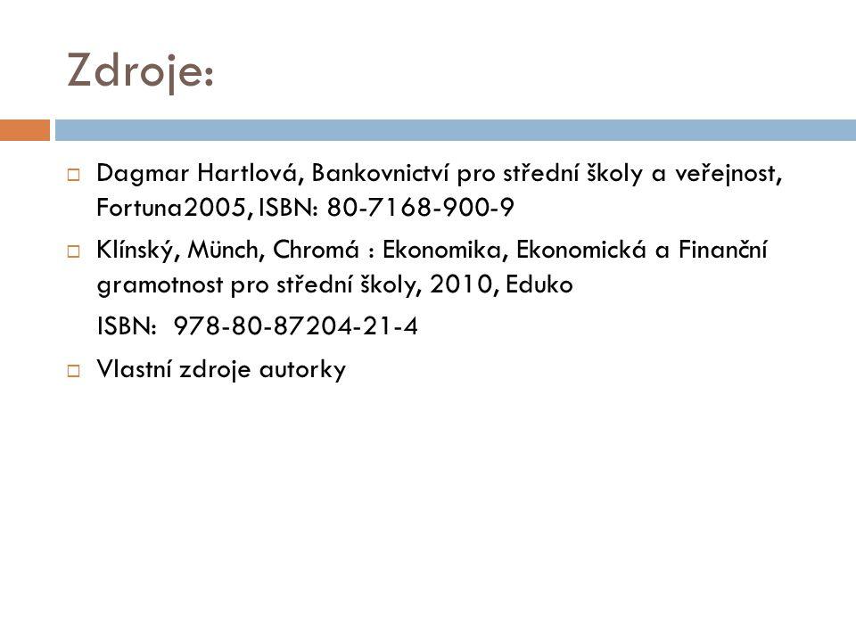Zdroje: Dagmar Hartlová, Bankovnictví pro střední školy a veřejnost, Fortuna2005, ISBN: 80-7168-900-9.
