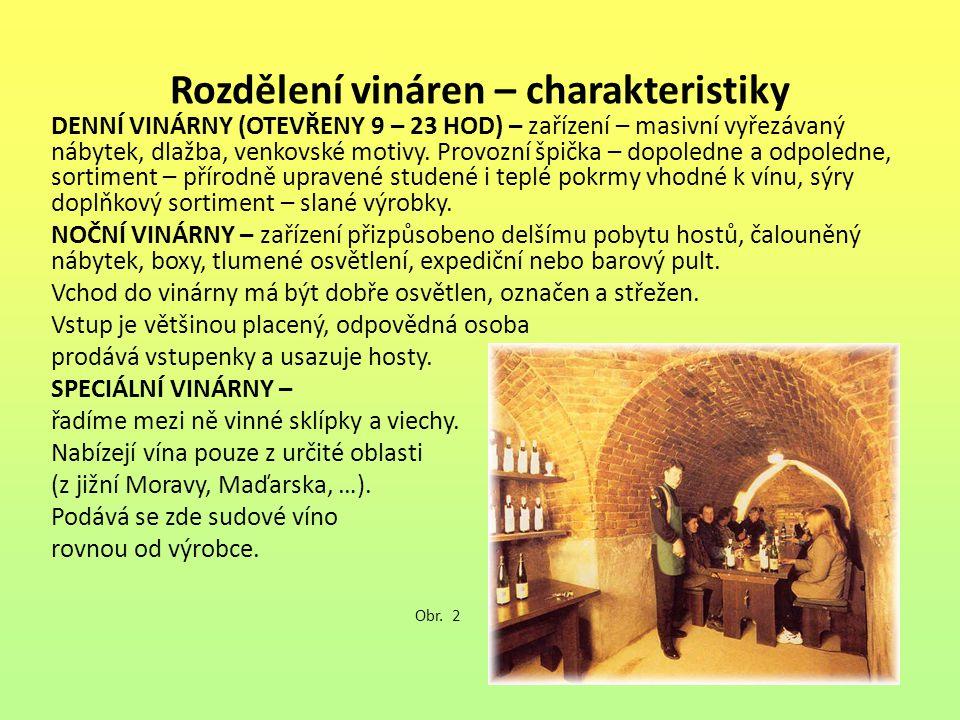 Rozdělení vináren – charakteristiky