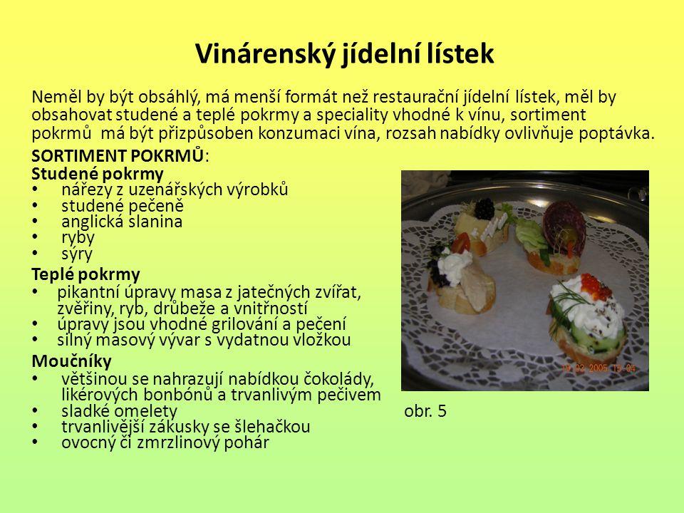 Vinárenský jídelní lístek