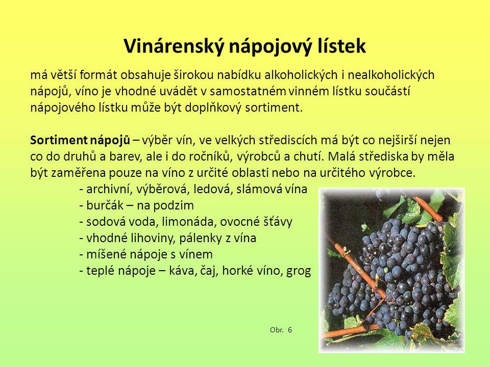 Vinárenský nápojový lístek