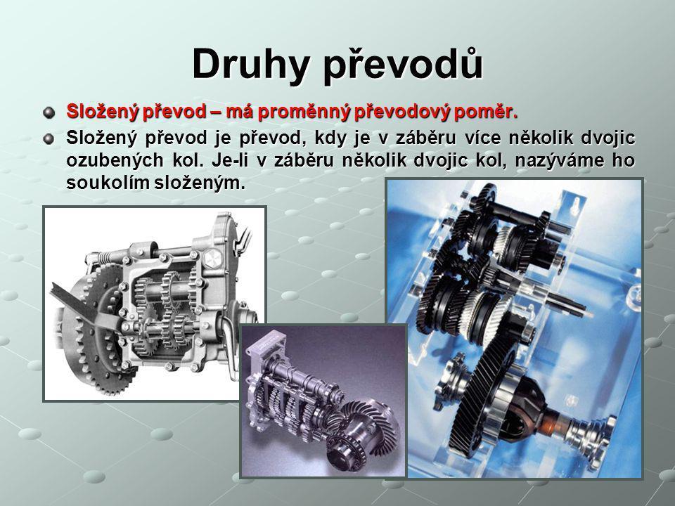 Druhy převodů Složený převod – má proměnný převodový poměr.