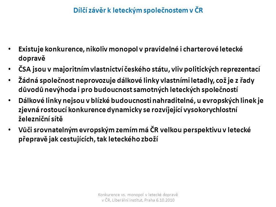 Dílčí závěr k leteckým společnostem v ČR