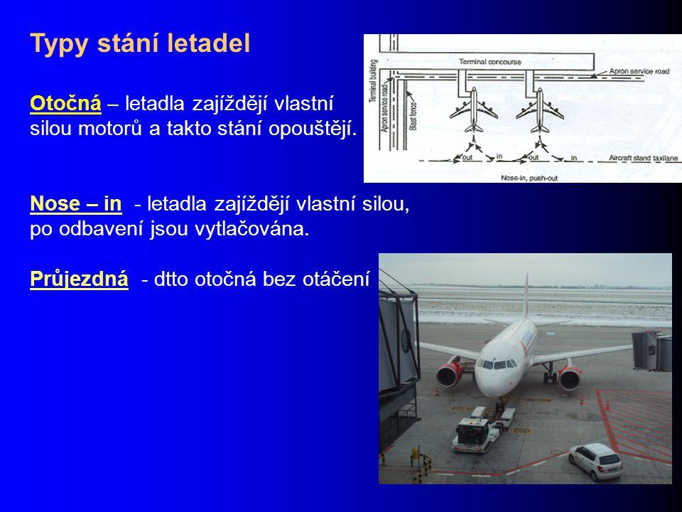 Typy stání letadel Otočná – letadla zajíždějí vlastní