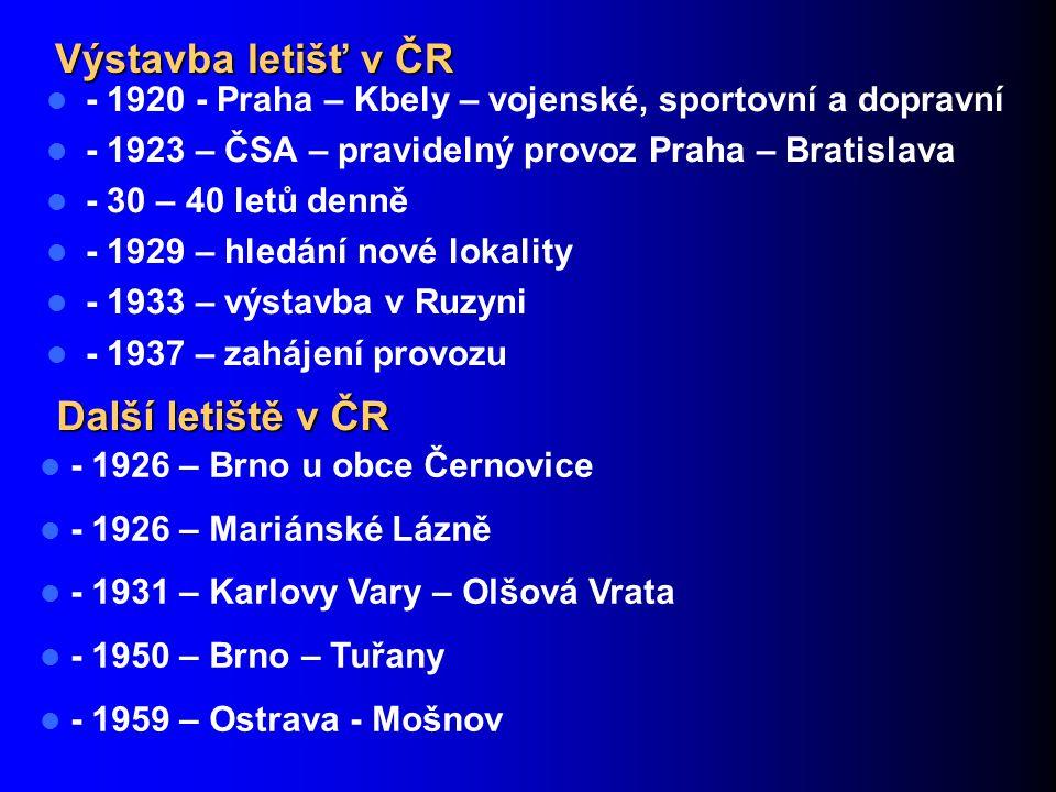 Výstavba letišť v ČR Další letiště v ČR