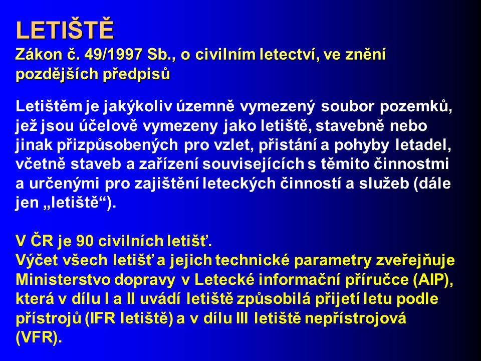 LETIŠTĚ Zákon č. 49/1997 Sb., o civilním letectví, ve znění pozdějších předpisů