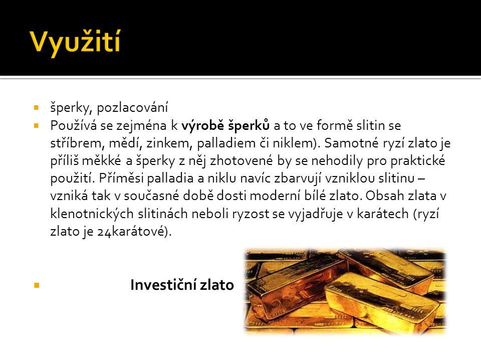 Využití Investiční zlato šperky, pozlacování