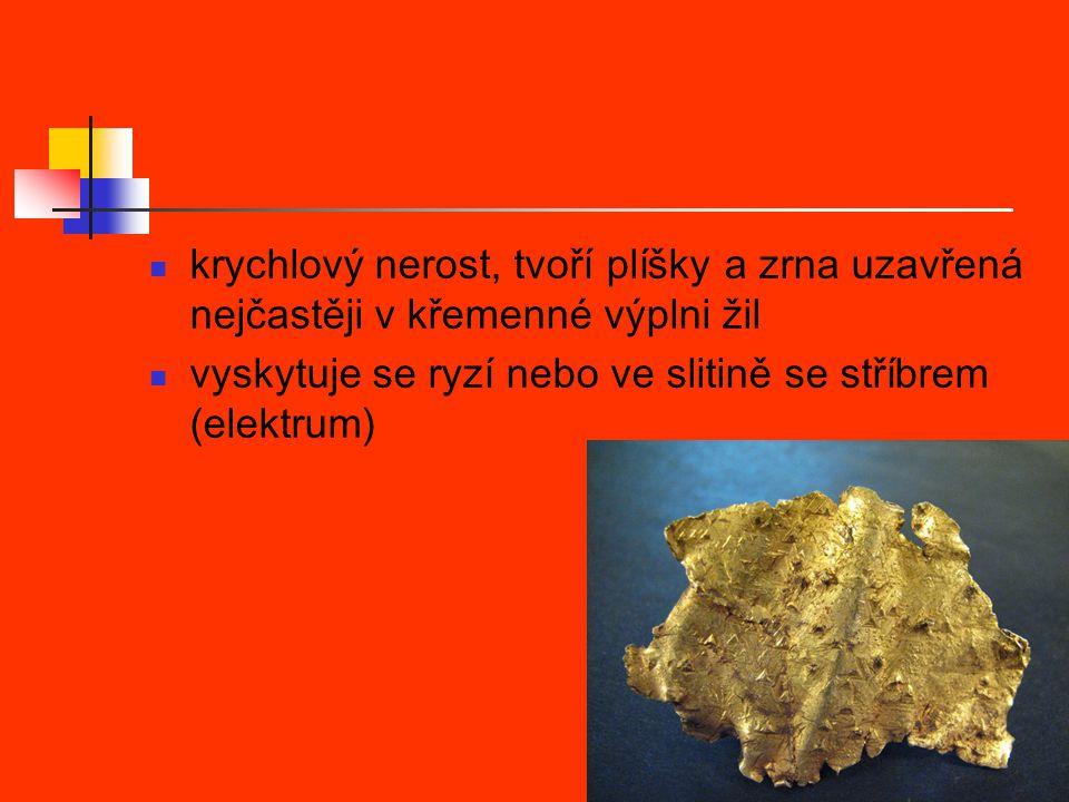 krychlový nerost, tvoří plíšky a zrna uzavřená nejčastěji v křemenné výplni žil
