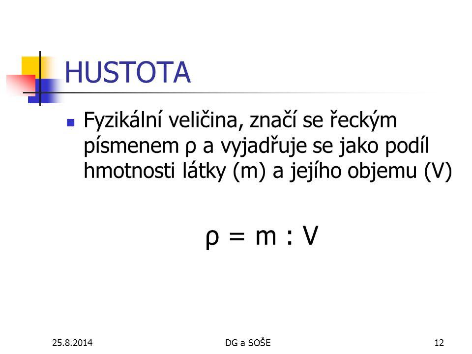 HUSTOTA Fyzikální veličina, značí se řeckým písmenem ρ a vyjadřuje se jako podíl hmotnosti látky (m) a jejího objemu (V)