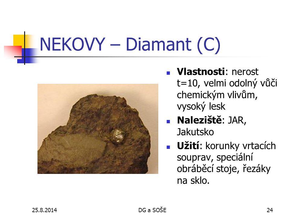 NEKOVY – Diamant (C) Vlastnosti: nerost t=10, velmi odolný vůči chemickým vlivům, vysoký lesk. Naleziště: JAR, Jakutsko.