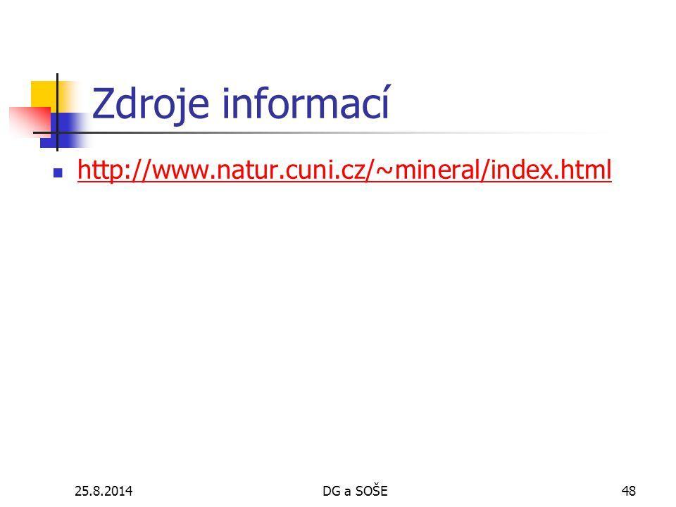 Zdroje informací http://www.natur.cuni.cz/~mineral/index.html 5.4.2017