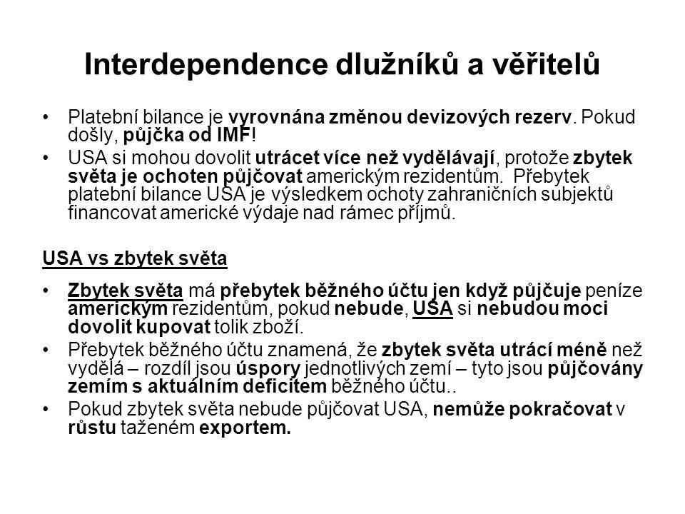 Interdependence dlužníků a věřitelů