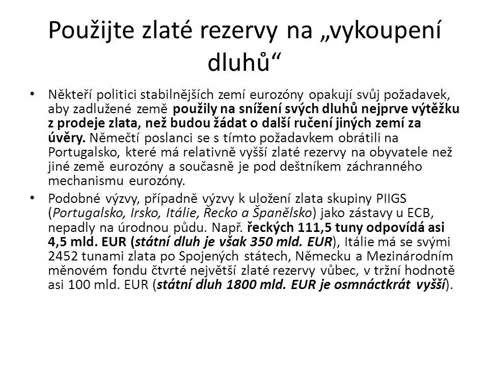 """Použijte zlaté rezervy na """"vykoupení dluhů"""