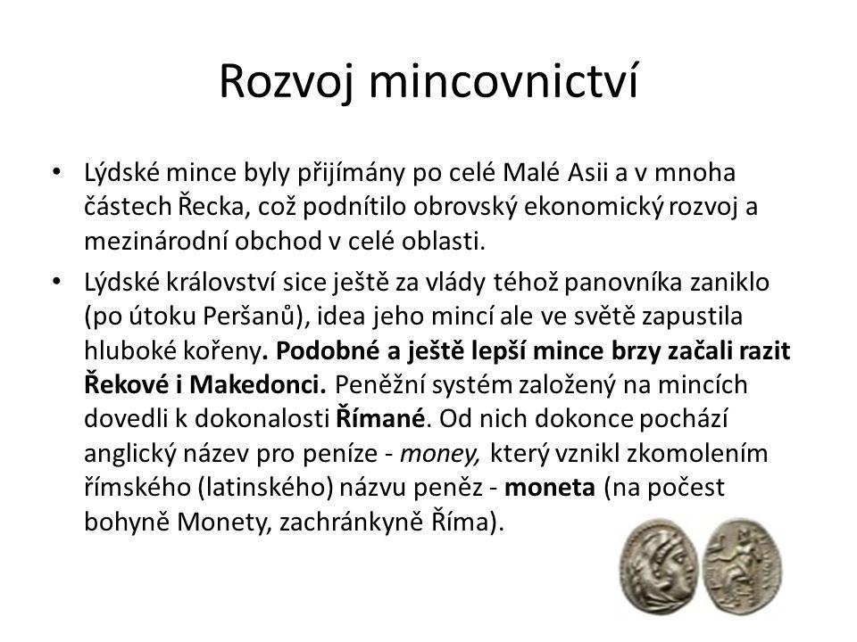 Rozvoj mincovnictví
