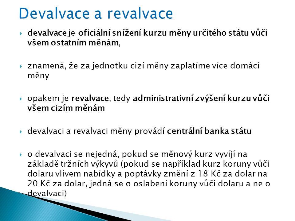 Devalvace a revalvace devalvace je oficiální snížení kurzu měny určitého státu vůči všem ostatním měnám,