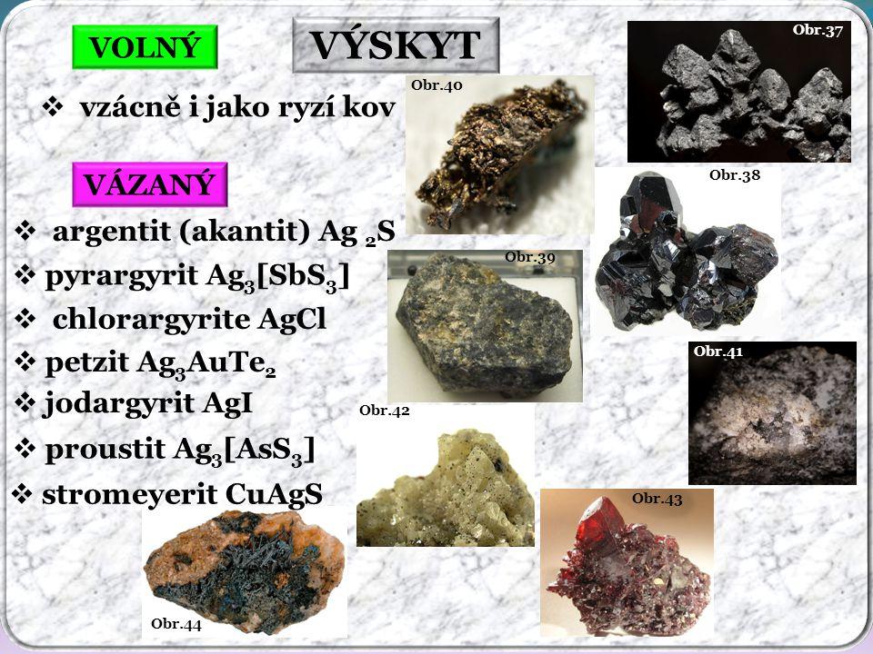 VÝSKYT VOLNÝ vzácně i jako ryzí kov VÁZANÝ argentit (akantit) Ag 2S