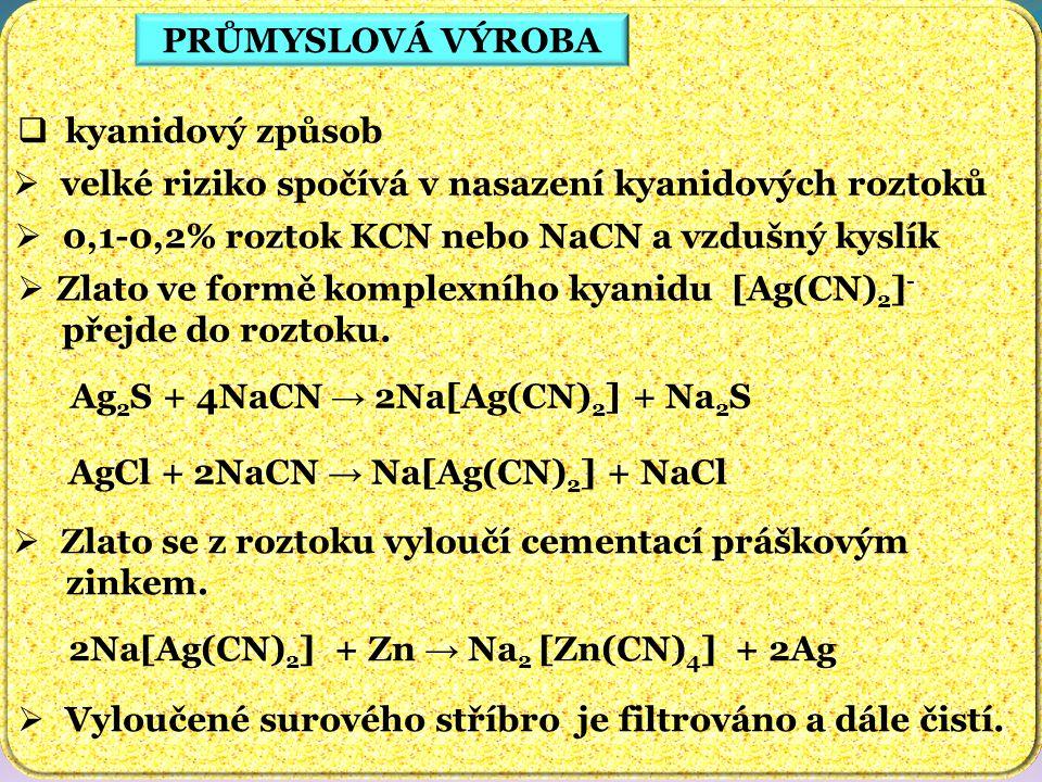 PRŮMYSLOVÁ VÝROBA kyanidový způsob velké riziko spočívá v nasazení kyanidových roztoků. 0,1-0,2% roztok KCN nebo NaCN a vzdušný kyslík