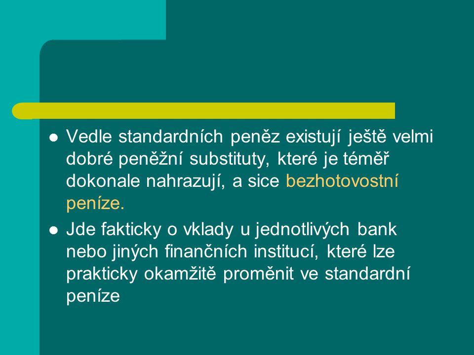 Vedle standardních peněz existují ještě velmi dobré peněžní substituty, které je téměř dokonale nahrazují, a sice bezhotovostní peníze.