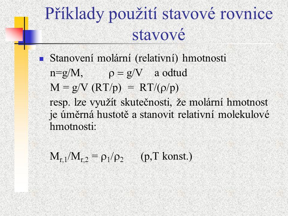 Příklady použití stavové rovnice stavové