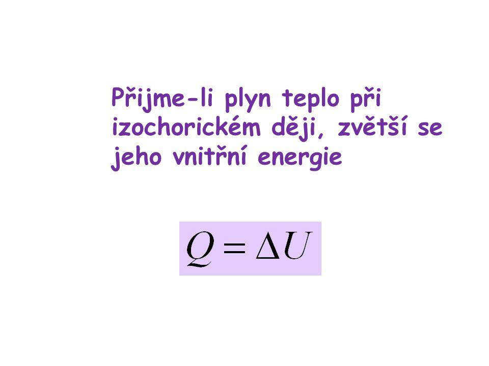 Přijme-li plyn teplo při izochorickém ději, zvětší se jeho vnitřní energie