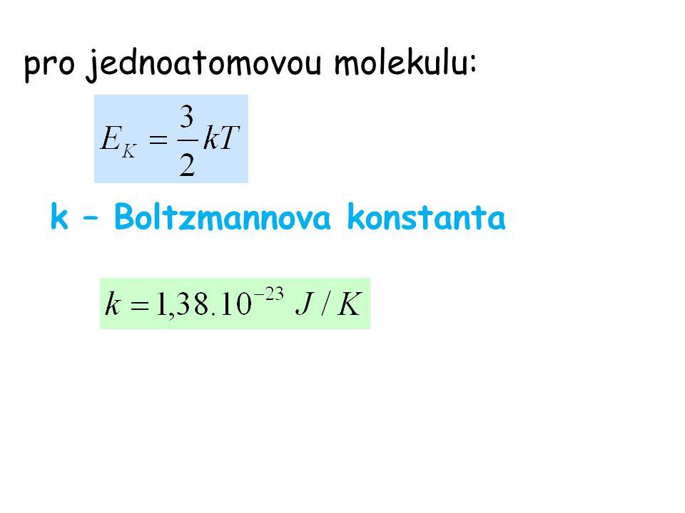pro jednoatomovou molekulu: