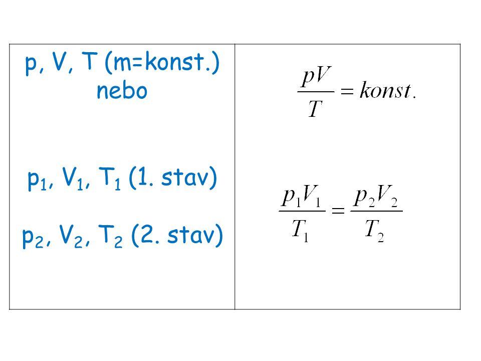 p, V, T (m=konst.) nebo p1, V1, T1 (1. stav) p2, V2, T2 (2. stav)