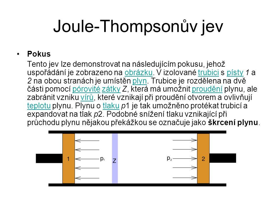 Joule-Thompsonův jev Pokus
