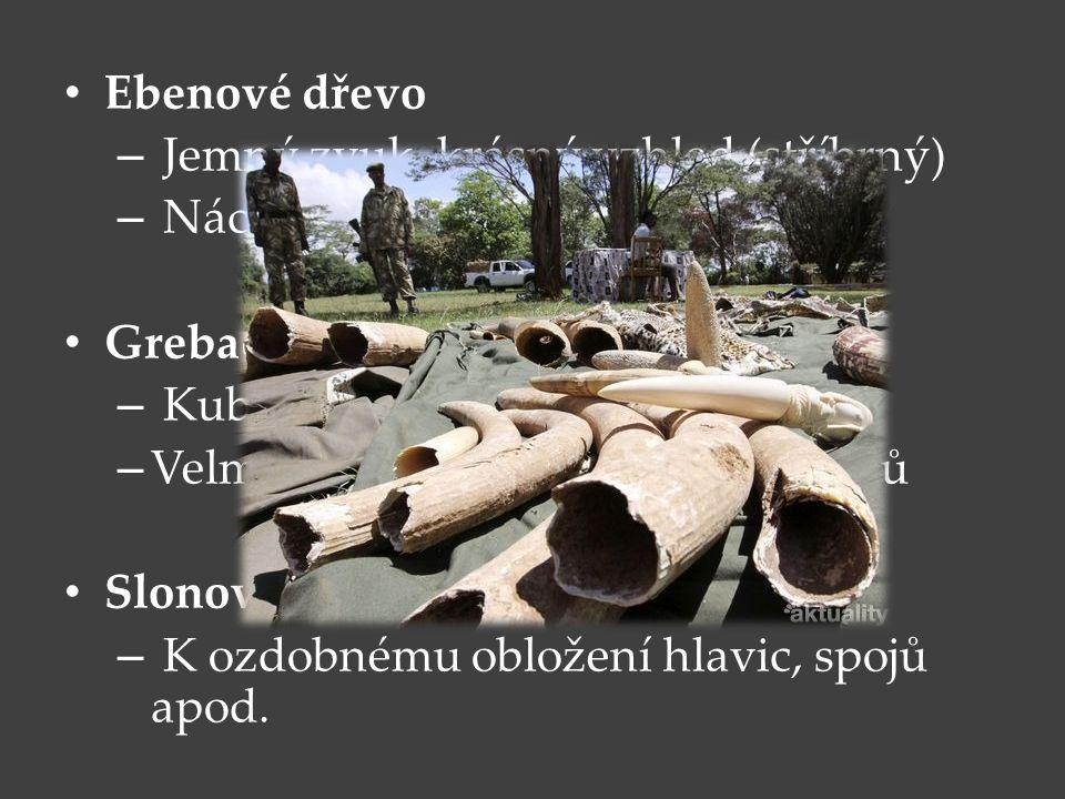 Ebenové dřevo Jemný zvuk, krásný vzhled (stříbrný) Náchylné ke změně v ladění. Grebadille. Kubánské a jihoamerické dřevo.
