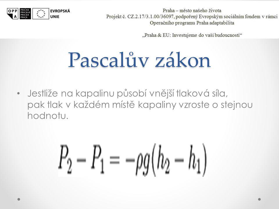 Pascalův zákon Jestliže na kapalinu působí vnější tlaková síla, pak tlak v každém místě kapaliny vzroste o stejnou hodnotu.