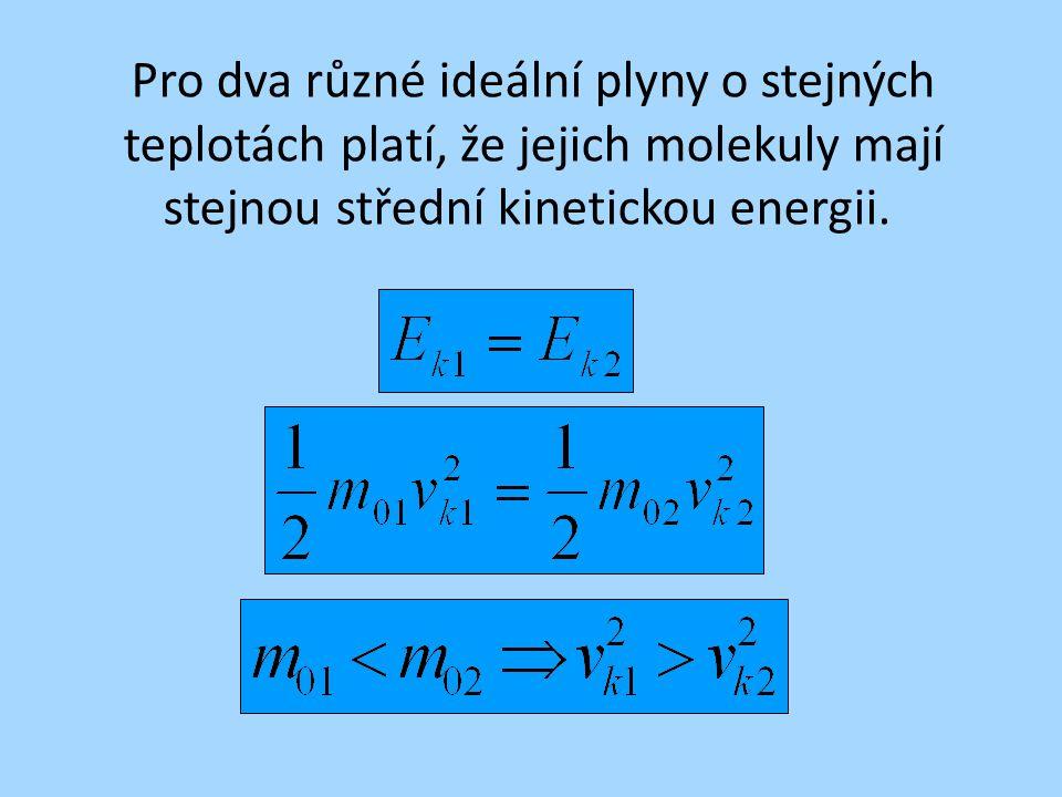 Pro dva různé ideální plyny o stejných teplotách platí, že jejich molekuly mají stejnou střední kinetickou energii.
