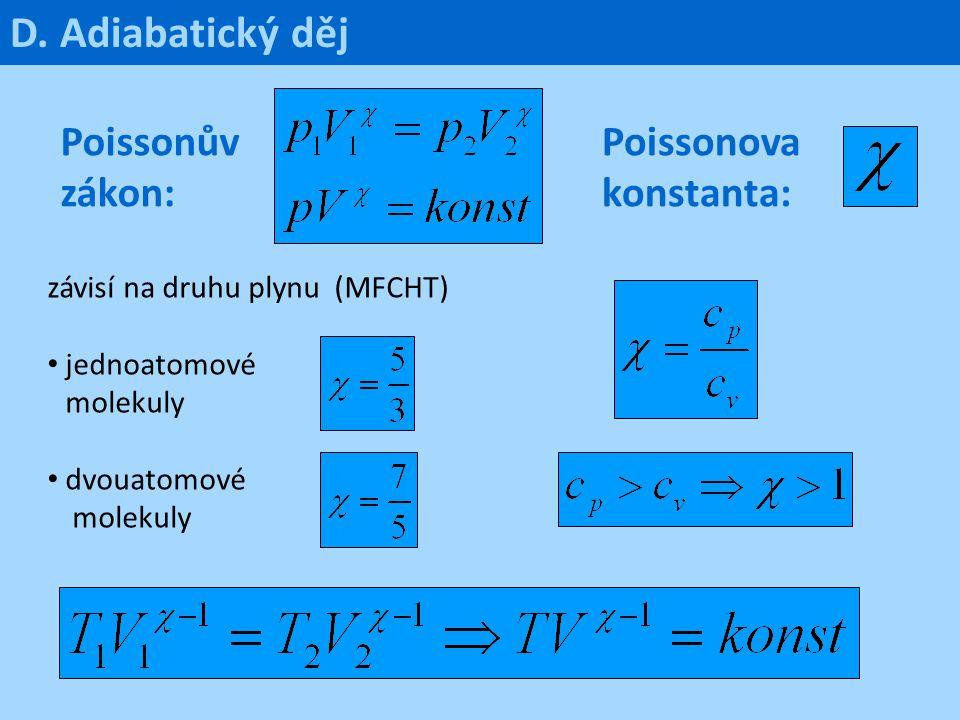 D. Adiabatický děj Poissonův zákon: Poissonova konstanta: