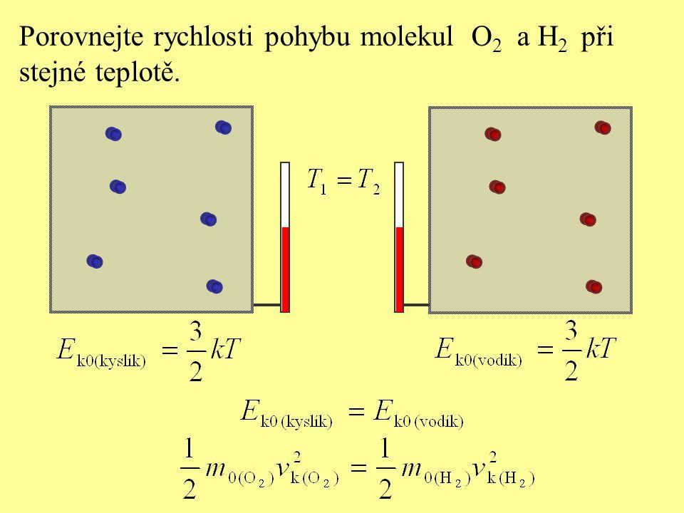 Porovnejte rychlosti pohybu molekul O2 a H2 při