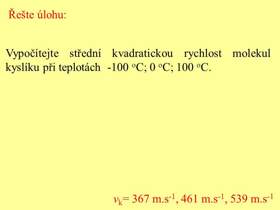 Řešte úlohu: Vypočítejte střední kvadratickou rychlost molekul kyslíku při teplotách -100 oC; 0 oC; 100 oC.