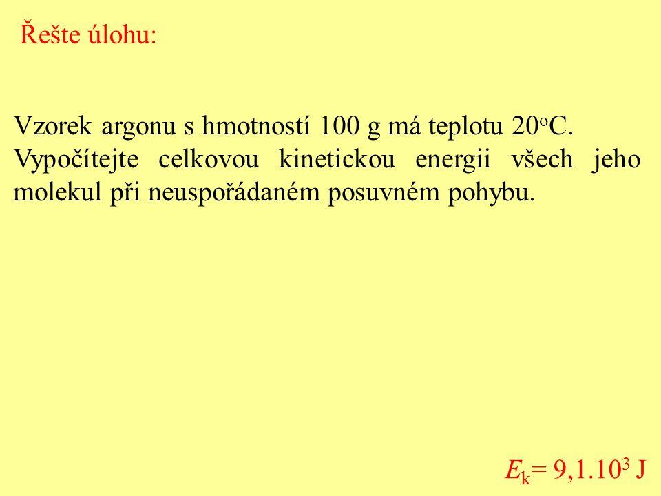 Řešte úlohu: Vzorek argonu s hmotností 100 g má teplotu 20oC.