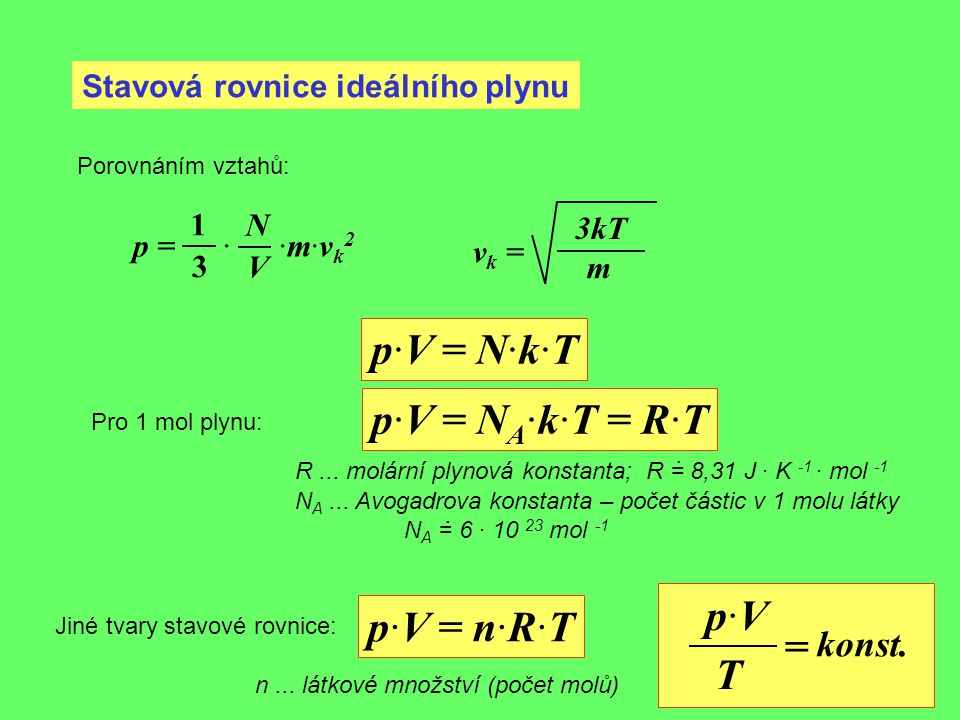 p·V = N·k·T p·V = NA·k·T = R·T p·V p·V = n·R·T = T konst.