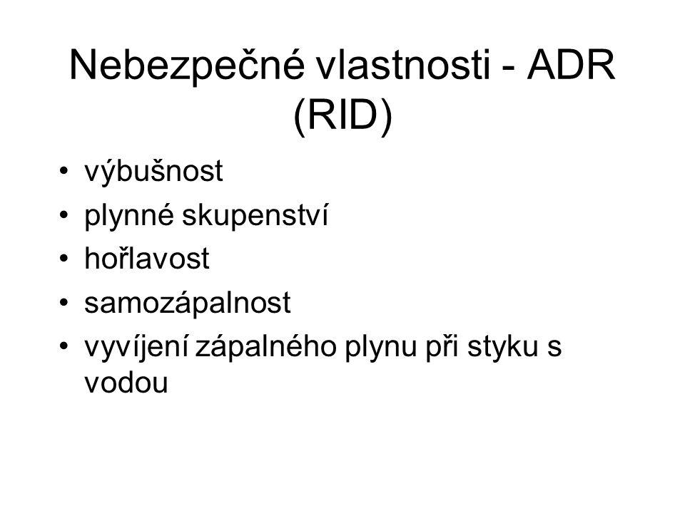 Nebezpečné vlastnosti - ADR (RID)