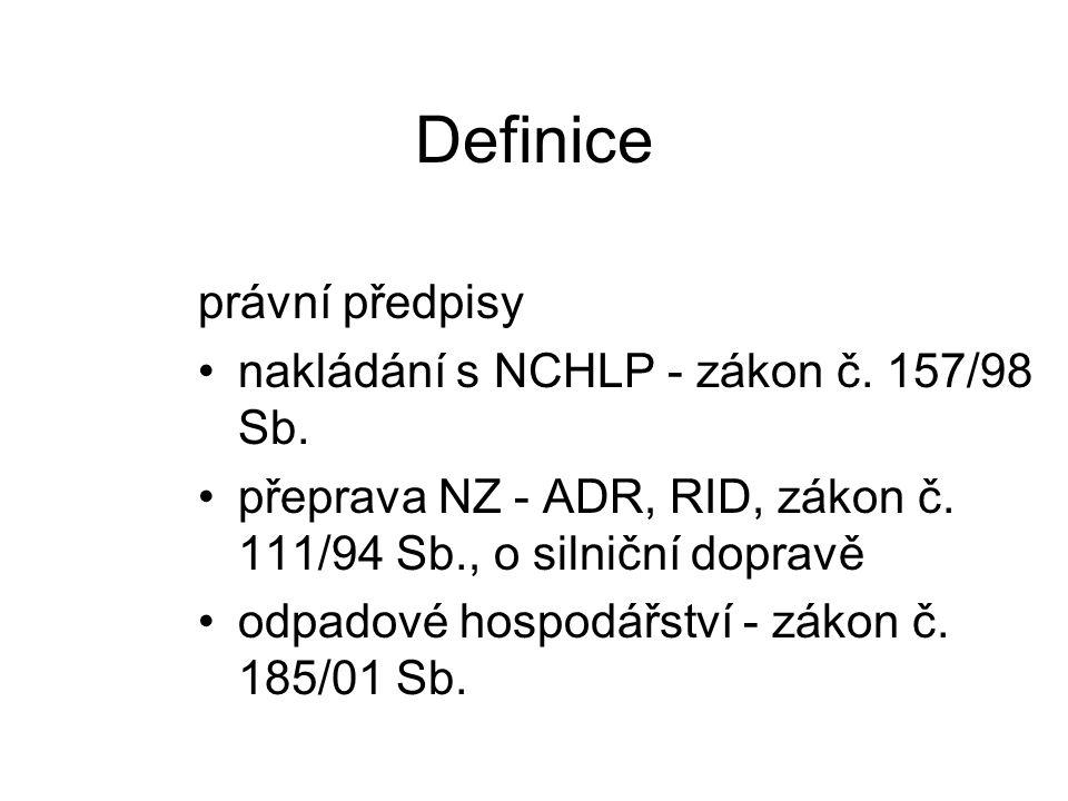 Definice právní předpisy nakládání s NCHLP - zákon č. 157/98 Sb.