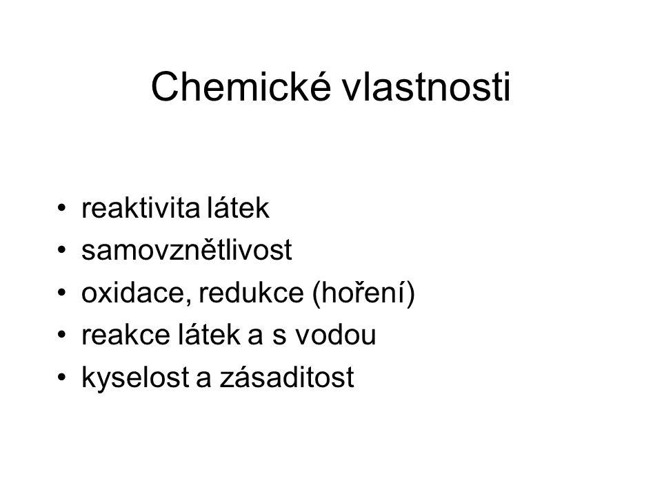 Chemické vlastnosti reaktivita látek samovznětlivost