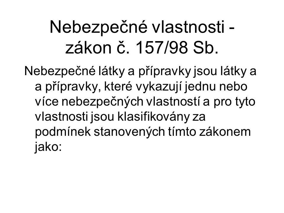 Nebezpečné vlastnosti - zákon č. 157/98 Sb.