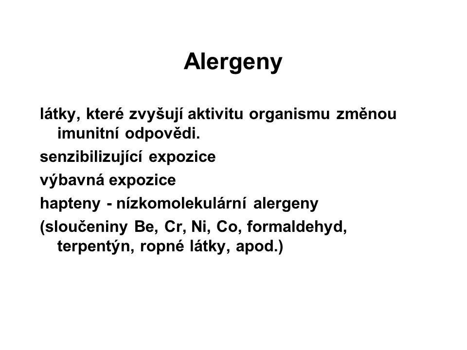 Alergeny látky, které zvyšují aktivitu organismu změnou imunitní odpovědi. senzibilizující expozice.