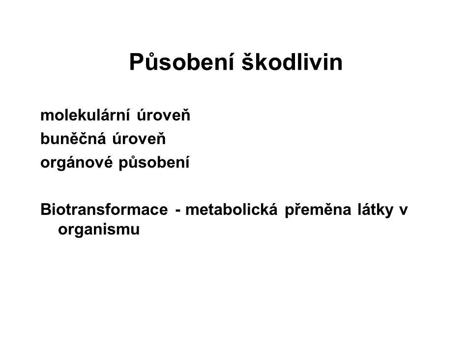 Působení škodlivin molekulární úroveň buněčná úroveň orgánové působení