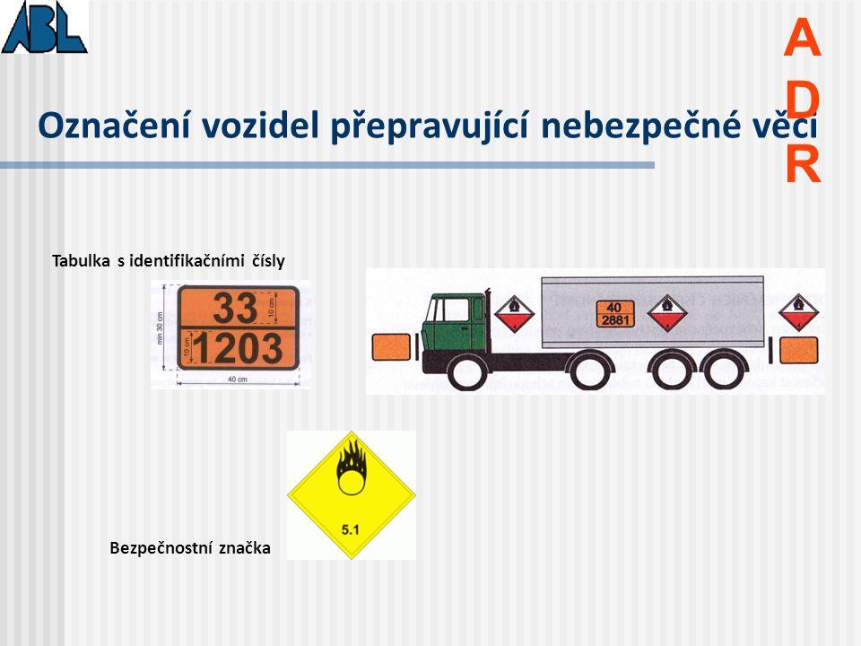 Označení vozidel přepravující nebezpečné věci