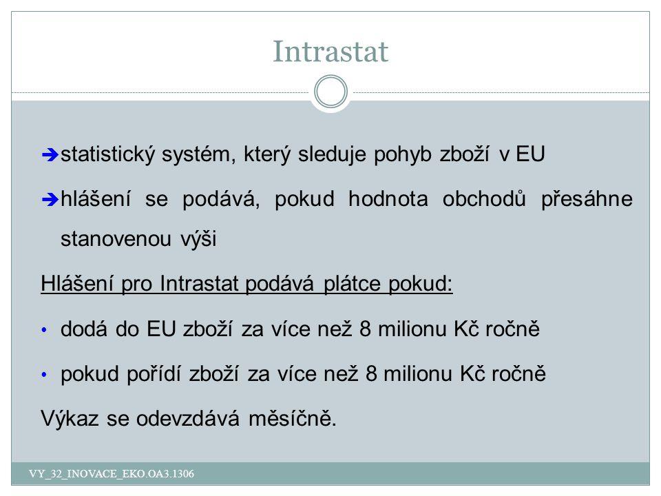 Intrastat statistický systém, který sleduje pohyb zboží v EU