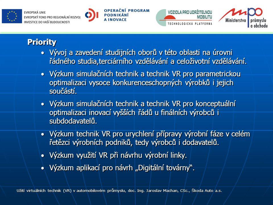Priority Vývoj a zavedení studijních oborů v této oblasti na úrovni řádného studia,terciárního vzdělávání a celoživotní vzdělávání.